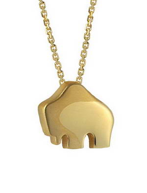 Handcrafted 14-karat yellow gold Small Queen Buffalo