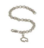 Handcrafted 7in sterling silver small toggle bracelet